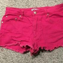 Nasty Gal X Minkpink Womens Sz M Pink Cutoff Denim Frayed Stretch Jean Shorts  Photo