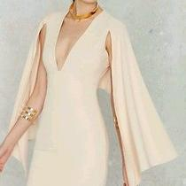 Nastygal Kendra Plunging Cape Dress Sz S Blush Nude Mini Deep v Neck Tobi Lulu's Photo