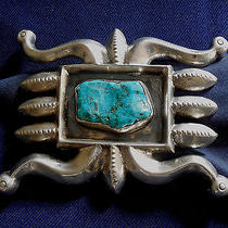 Native American Cast Sterling Silver Stamped Turquoise Man's Vintage Buckle Photo