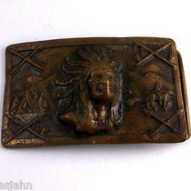 Native American Chief Horse Tipi Teepee Arrow Piece Pipe Vintage Belt Buckle Y4 Photo