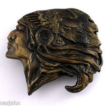 Native American Indian Chief Headdress Vintage Belt Buckle J39 Photo