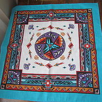 Native American Indian Primitive Geometric Folk Art Bandana Scarf Vintage Birds Photo