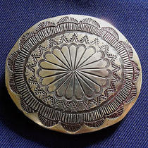 Native American Sterling Silver Stamped Domed Man's Vintage Buckle Photo