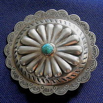 Native American Sterling Silver Stamped Domed Turquoise Cab Vintage Buckle Photo