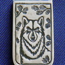 Native American Sterling Silver Stamped Man's Vintage Wolf Money Clip Photo