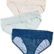 Natori 187665 Womens v-Kini Panties Rose/blue/aqua Gray 3-Pack One Size Photo