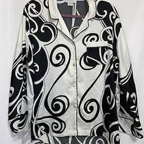 Natori Black and White Button Up Pajama Lounge Blouse Womens L  Photo