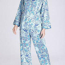 Natori Blue Angel Cotton Sateen Piped Pajamas Ceramic Pj Set Small S New 170 Photo