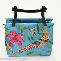 Natori Blue Embroidered Bird/floral Bag 700  Photo