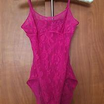 Natori Body Suit Sheer Teddy Lace Lingerie Top Pink Size S Photo