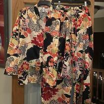Natori Cruz Asian Floral 2 Piece Pajama Set Pants Top Size Xl Euc Photo