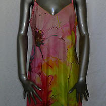 Natori Floral Nightgown Nightie Yellow Pink Orange Green Nwt Medium Photo