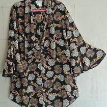 Natori Ii Semi Sheer Black Floral Bed Jacket Lounge Robe-Ruffle-Lace-M/l Saks Photo
