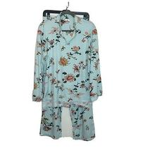 Natori Pajamas Size L Blue Asian Chysanthemum Flowers and Birds  Photo