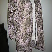 Natori Pink and Brown Leopard Gorgeous Wrap Robe - Size Large Photo