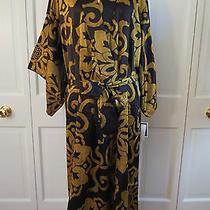 Natori Private Luxuries Black and Gold Long Kimono Robe  Large  Nwt 180 Photo