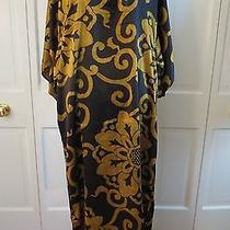 Natori Private Luxuries Long Silky Caftan Black/gold  Small Photo