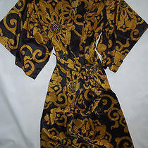 Natori Private Luxuries Medalion  Robe & Gown Lingerie Set  Small Black W Gold Photo