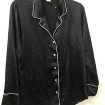 Natori Private Luxuries Women Black Button Up Pajama Top Long Sleeve M Polyester Photo