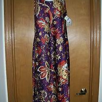 Natori - Purple Floral - Long Sleeveless Gown - Medium - Nwt Free Shipping Photo