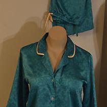 Natori Wearable Art Silky Elegant Pj Top Pants 2 Piece Set Sz Small  Draw String Photo