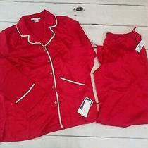 Natori Womens Small Red White Pajama Set Button Up Long Sleeve & Pants Silky New Photo