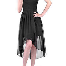 Natural a Line One Shoulder Chiffon Cocktail Dresses 2 Black Photo