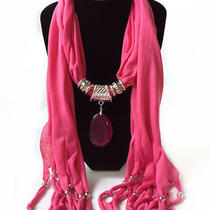 Natural Agate Pendant Women Charms Jewelery Pink Necklace Scarf 03081298-04 Photo
