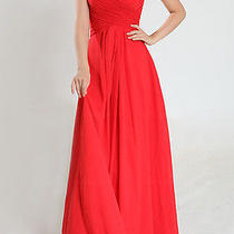 Natural Chiffon a Line Long Strapless Bridesmaid Dresses 4 Red Photo