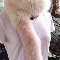 Natural Ivory Fox Fur Boa Scarf W/1 Soft Pink Blush End - Stylish L- 60