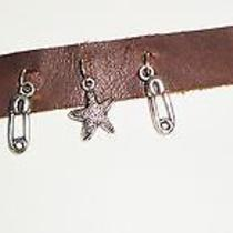 Natural Leather Bracelet  Brown W/charms. New Photo