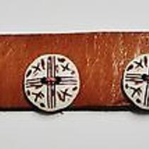 Natural Leather Bracelet W/silver Color Metal Findings. New Photo