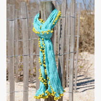 Natural Life Aqua Scarf With Green Fringe Photo