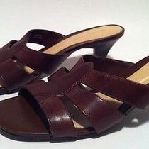 Naturalizer 7.5 Brown Leather Slide Sandal Heels Pumps Open Toe Womens Shoes Photo