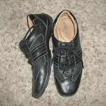 Naturalizer Black Leather & Fabric Walking Shoes Tie Oxfords Athletic 6 1/2m Photo
