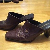 Naturalizer Brown Leather Slide Mule Shoes Curved Chunky Heel Square Toe Size 7 Photo