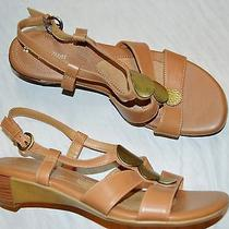 Naturalizer Javas Sz 10 M Beige Leather Strappy Low Wedge Heel Sandals Photo