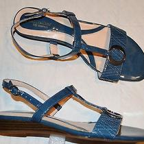 Naturalizer Jubilee Sz 9.5 M Quilted Patent Low Wedge Heel Strappy Sandals Photo