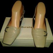 Naturalizer Kempsey Stone Leather Cream Slingback Sandal Pumps Heel 7w  Photo
