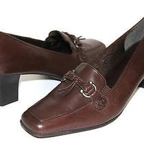 Naturalizer Krone Chocolate Genuine Leather Loafer Pumps Sz 9 Wide New Lkb2 Photo