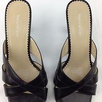 Naturalizer Sandals Heels Slides Slip on Black Leather Women's 8.5 W   Photo