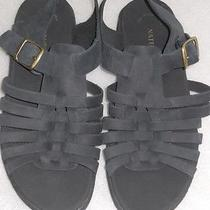 Naturalizer Sandals Strappy Slingbacks Leather Micro-Suede Sz 6m Black New Photo