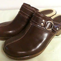 Naturalizer Women's Brown Leatherstrap W/western Silver Ringmules Clogs 7.5 M  Photo