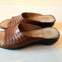 Naturalizer Women's Brown Woven Leather Sandal Padded Brazil 11n Excellent Photo