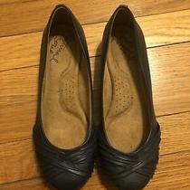 Naturalizer Womens Blue Leather Slip on Flats Size Womens 7w Wide Photo