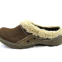 Naturalizer Womens Clogs Mules Loafers Sz 7m Beige Brown Suede Leather Fur Flats Photo