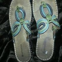 Naturalizer  Womens  Sandals  9m Chesna-4 Thong Slides 3 Shades of Green Leather Photo