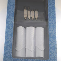 Nautica 3 Handkerchiefs & 4 Collar Stay Gift Set in Case Boxed Set New in Box Photo
