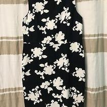 Navy Blue and White Floral Lands End Dress 12p Photo