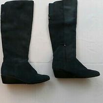 Navy Blue Bandolino Knee High Suede Boots Size 6 1/2 Medium Photo